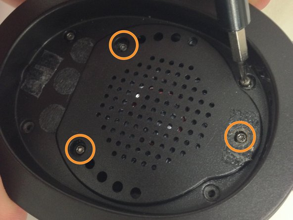 Use the T6 torx screwdriver to remove the three screws holding the speaker in place.