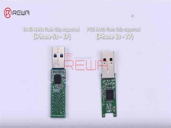 Now we need a bare USB flash drive PCB. We can see that the bare USB flash drive PCB supports 64 Bit NAND Flash Memory Chips and you can solder two NAND flash chips onto its two sides.