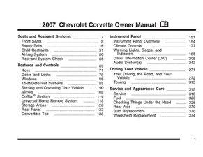 2007 Chevrolet Corvette Owner's Manual