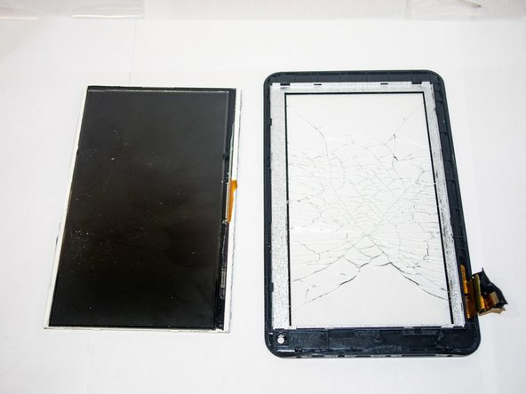 After pulling out the screen, what you have left is the digitizer, which is what allows the tablet to recognize your touch.