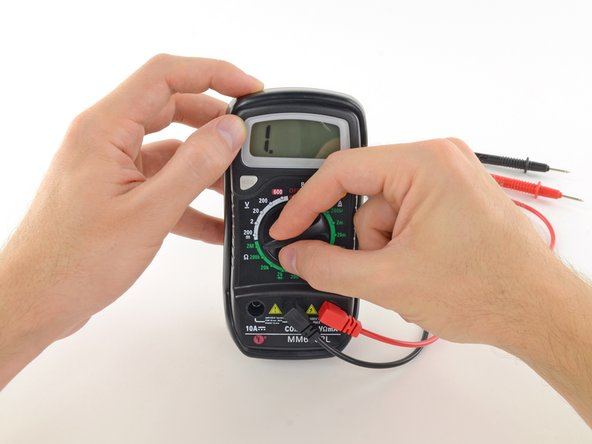 Switch on your multimeter, and set the dial to resistance mode.
