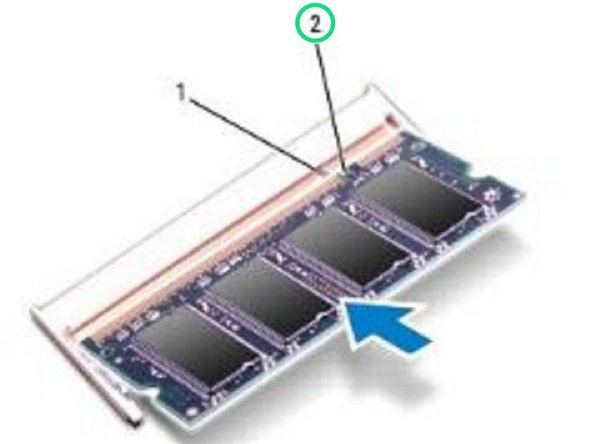 Align the notch in the NEW memory module with the tab in the memory module connector.