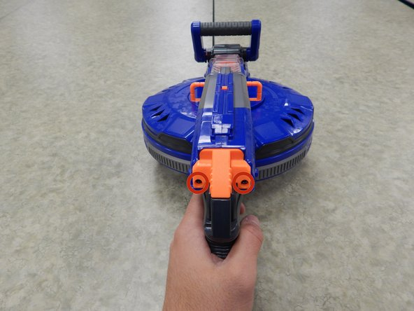 Before disassembling your Nerf Hail-Fire, be sure to remove the batteries.