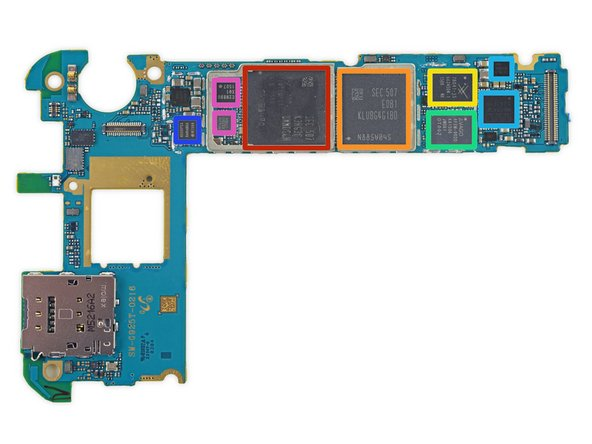 As ChipWorks noted in their recent Galaxy S6 analysis, more and more of the chips in Samsung's flagship phones seem to be originating in-house. On the front side of the mobo, we find: