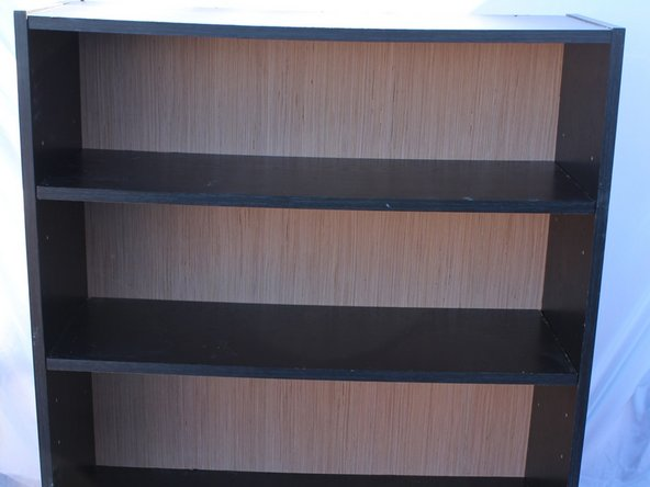 The shelf has its new plywood backing, so you can stand it up and you will feel the immediate difference in the sturdiness of your new shelf.
