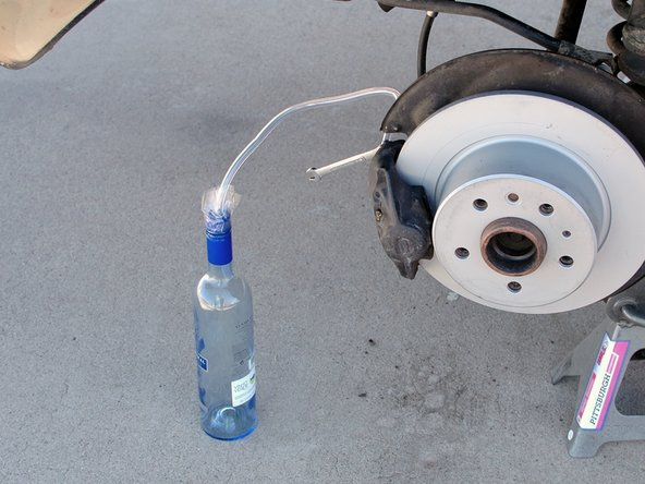 While it's possible to bleed your brakes with the wheels on the car, it's easier with the wheels off and it's definitely easier to show the process...
