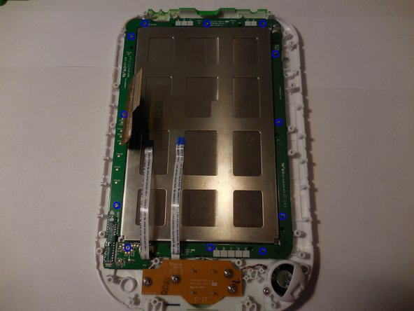 Using the screwdriver with the PH00 bit, unscrew the twelve screws holding the screen casing down.