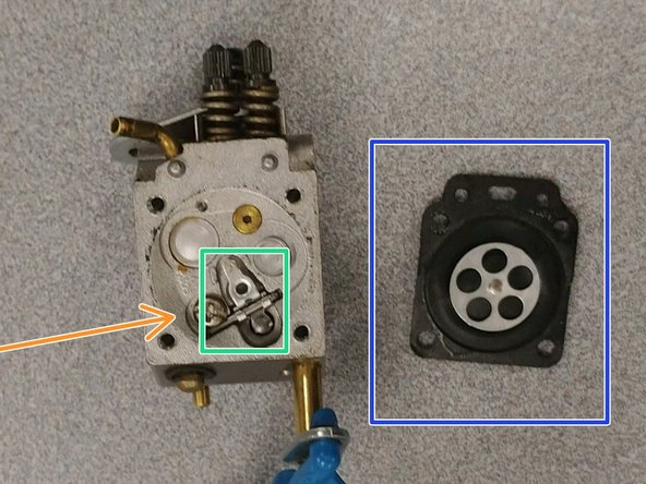 Remove the screw holding the float set and needle valve.