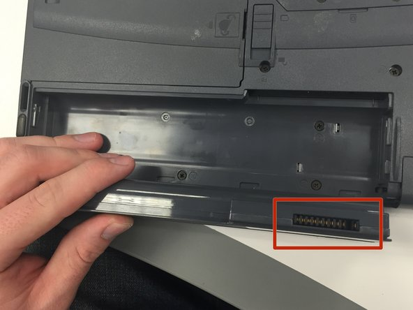Identify the connector pins on the battery.