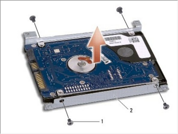 Remove the four screws that secure the hard drive bracket to the hard drive.