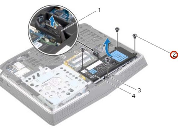 Align the screw holes on the battery with  the screw holes on the computer base.