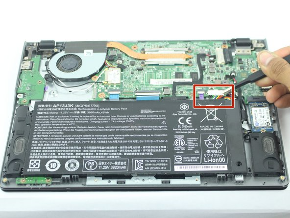 Disconnect the connector that attaches the battery to the Chromebook with a pair of pliers or tweezers.