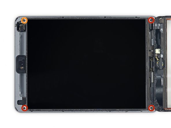 Remove the following Phillips #00 screws securing the LCD: