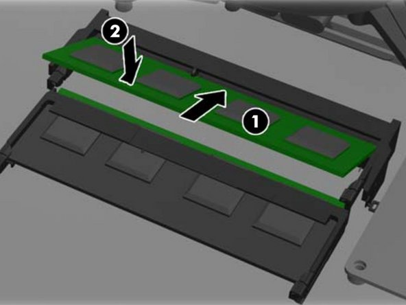 Image 1/3: Memory modules can only be installed in one way.  Match the notch on the module to the tab on the memory socket.