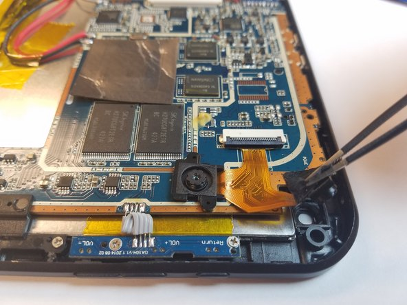 Pull the black tape away so that the rear-facing camera is no longer attached to the device.