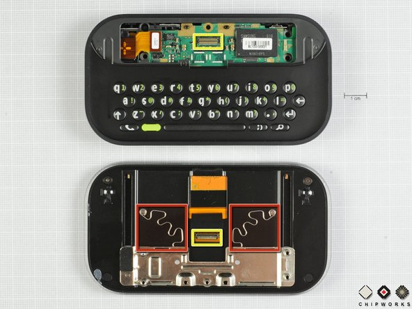 Image 1/2: The connector highlighted in yellow is responsible for sending data between main board and the display, microphone, speaker, and touchscreen.