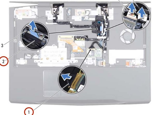 Route the display cable, camera cable, infrared cable, wirelessHD card  cable, and Mini-Card antenna cables  through the routing guides on the  palm rest assembly.