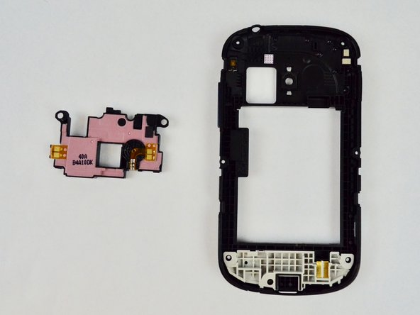 Apply a firm prying motion to remove the pink plastic section. The external speaker is a part of this assembly.