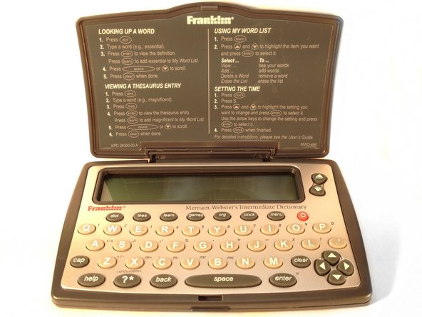 Here is the fully assembled Franklin MWD-460A Electronic Dictionary.