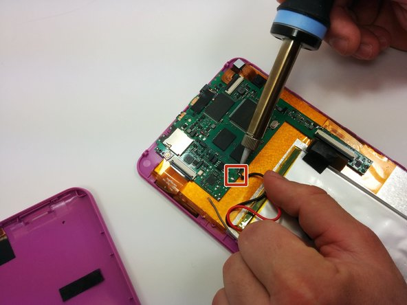 Use a soldering iron to remove the soldered connections from the battery to the motherboard.