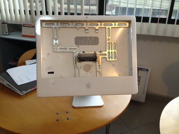 We start up with an empty case of an iMac.