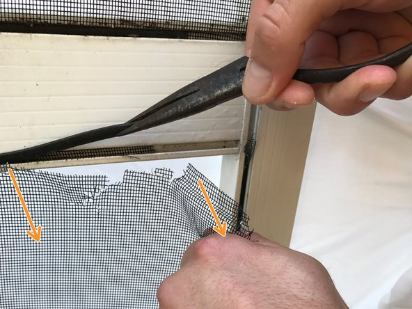 To help remove the damaged screen, pull down on the screen while you are removing the thread of the old screen.