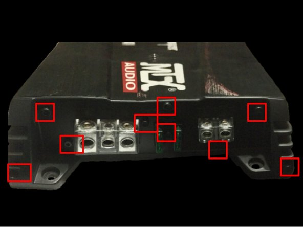 On the right side of the amp (power terminal side), use the Allen wrench from the previous step to remove the 9 indicated screws.