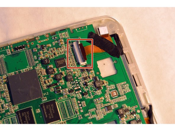 Open the ZIF connector, the black locker part over the wire ribbon in the motherboard, and remove the wire ribbon that connects the motherboard and the camera.