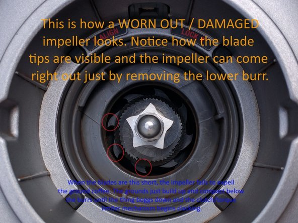 Image 1/3: Unplug your grinder. Remove the hopper and take the upper burrs out. Empty out any coffee grounds (An air gun or vacuum helps) and then inspect the impeller blades.