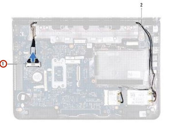 Disconnect the display cable from the system board connector.