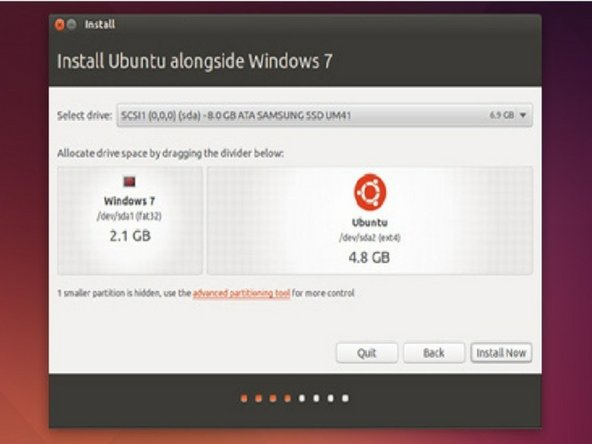 Move the slider until you find the right amount of space you want to give Ubuntu. Plan for about a 5-6 GB installation at the minimum.