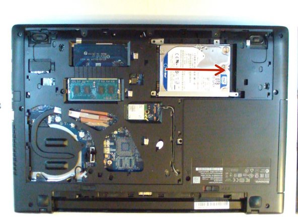 Two metal brackets are secured to the HDD by 4x Phillpis screws. Remove and install them to the new HDD or SSD.