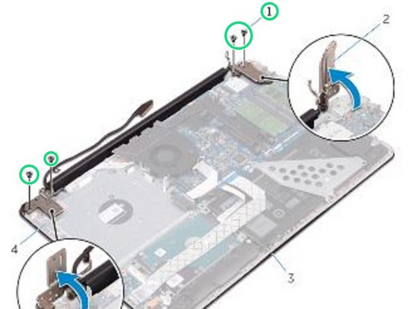 Replace the screws that secure the display hinges to the palm rest and keyboard assembly.