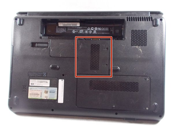 Locate RAM access door on the bottom side of the laptop.