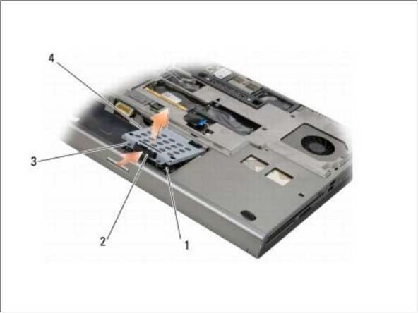 Loosen the two captive screws on the HDD1 carrier, and remove the carrier.