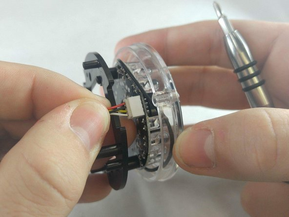 The wires attaching the circuit board to the shell should be removed as well.