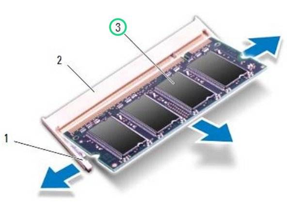 Slide the memory module firmly into the memory-module connector at a 45-degree angle, and then press down the memory module on both sides until it clicks into place. If you do not hear the click, remove the memory module and reinstall it.