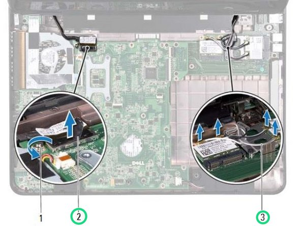 Route the display cable and Mini-Card antenna cables through the routing  guides.