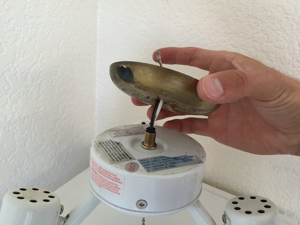 Pull upwards to remove the fan piece that holds the light fixture.