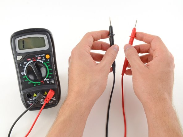 If the probes are connected—either by a continuous circuit, or by touching each other directly—the test current flows through. The screen displays a value of zero (or near zero), and the multimeter beeps. Continuity!