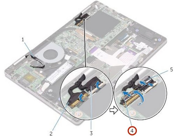 Open the latches to disconnect the display cable and the touch-screen board-cable from the system board.