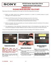 VPCEE Series Hard Disk Drive Replacement Instructions