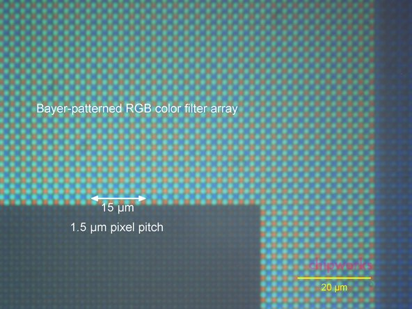 Image 1/3: That's gravy and all, but ever wonder what a 1.5 µm pixel pitch actually looks like? ''Well wonder no more!'' The first image in this step shows how your camera sees you when you take that duck-faced selfie.