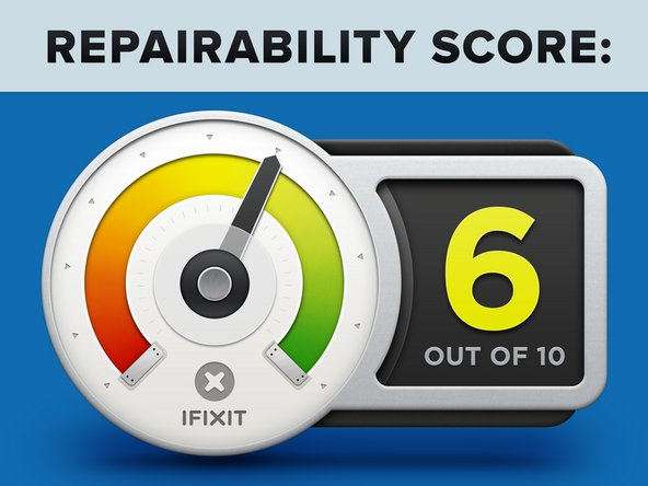 The iPhone 8  Plus earns a 6 out of 10 on our repairability scale (10 is the easiest to repair):