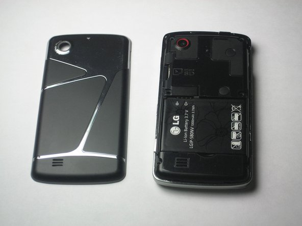Locate the battery. It is the large black rectangle with the LG logo, a model number, and battery information.