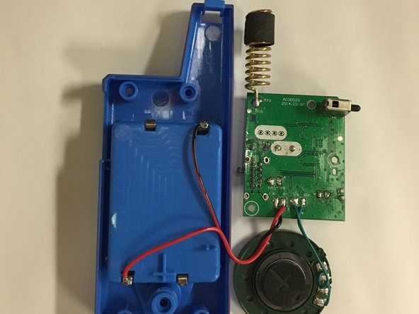 Remove the circuit board and speaker from the plastic casing.
