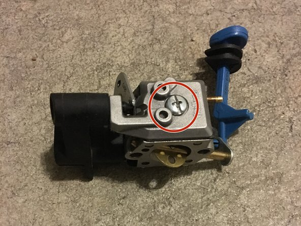 Remove the screw holding the fuel pump cover in place using the chainsaw T-wrench.