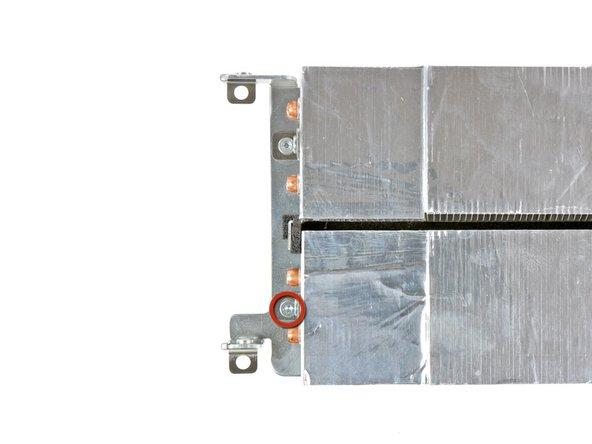 Remove the short T10 Torx screw securing the GPU heat sink to the metal logic board framework.