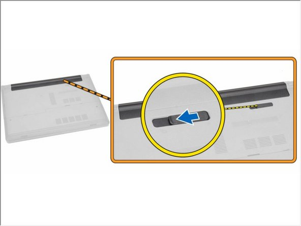 Slide the release latch outwards to unlock the battery.