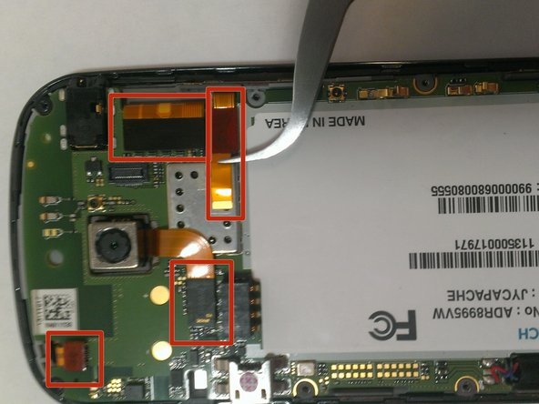 Image 1/3: Using a set of Tweezers, carefully pull each ribbon up from its connection. After this is complete, the motherboard will freely separate from the back of the screen.